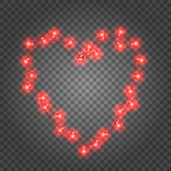 バレンタインデーの赤い電球の花輪