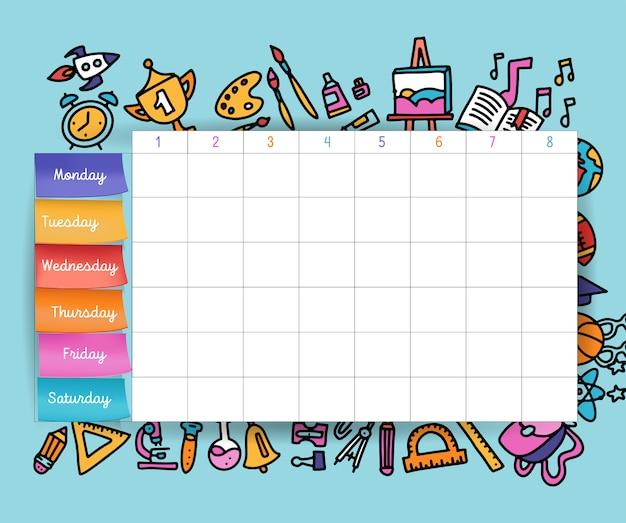 ステッカー付きカレンダースケジュール。学校計画またはスケジュール作業ベクトルボリュームイラスト。生徒と生徒のためのテンプレートスクールタイムテーブル。