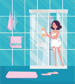 Женщина принимает душ.