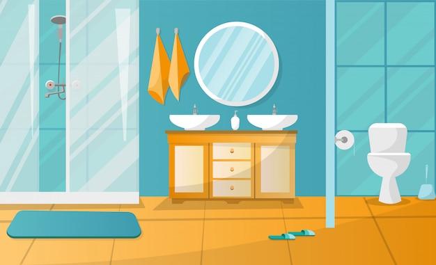 シャワーキャビン付きのモダンなバスルームのインテリア