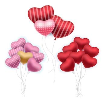 現実的な風船。カラフルな誕生日パーティーや聖バレンタインのボリューム風船の束のセット。