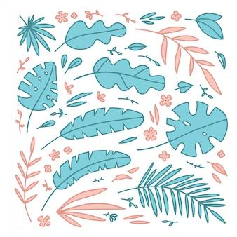 熱帯植物要素の花、ヤシの葉、草のセット。白の孤立したオブジェクト。手描きイラスト。フラットスタイル。子供向けのプリント。