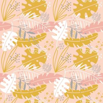 手でかわいい抽象花シームレスパターンには、ヤシの葉が描かれています。スカンジナビアのイラストの招待状、ノートブック、バナー、包装紙、テキスタイル、カバー、ポストカード、インテリア、ファッション