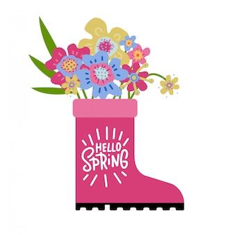 春シーズンのグリーティングカード、落書きの花とピンクのゴム製ブーツ。