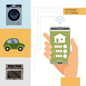 Умный дом и интернет вещей концепции. человек, держащий смартфон в руке и управляет умными домашними устройствами как моечная машина, автомобиль, плита. изолированная плоская иллюстрация