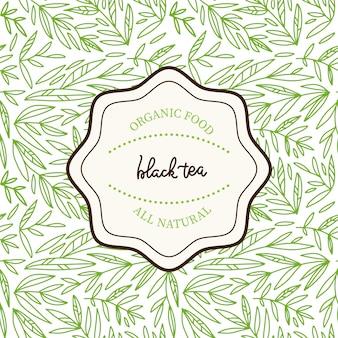 茶葉のデザインテンプレート。手描きの線形枝スケッチとシームレスです。