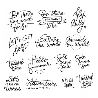 手描き線形トレンディな書道のセット。夏休みと休暇の引用、フレーズ、レタリングの言葉。