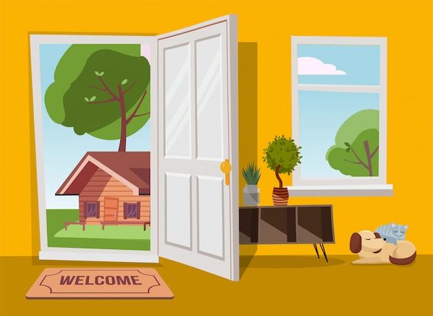 緑の木々と夏の国の風景ビューにドアを開けます。フラット漫画イラスト。青空の下で丸い王冠が付いている木。郊外の古い家を見下ろす窓と廊下のインテリア