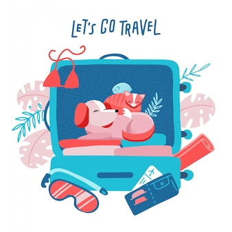 犬、猫、ハムスターの旅行スーツケース。動物のコンセプトで旅行。休日オブジェクトを使用したミニマリズムデザイン。バックグラウンドで花のヤシの要素。フラットの図。旅行に行こう