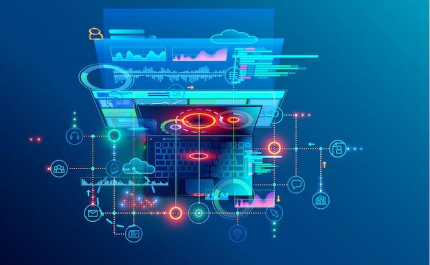 ソフトウェア開発コーディングプロセスの概念。プログラミング、クロスプラットフォームコードのテスト