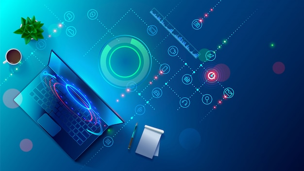 プログラミング、クロスプラットフォームコードのテスト、ラップトップ、タブレット、電話のアプリ。スクリプトデスクトップの作成、編集