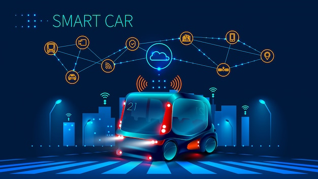 運転支援システムのコンセプト。自動運転車。無人車