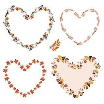 Набор цветочных рамок в форме сердца