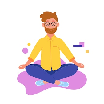 ヨガ男が蓮華座に座っています。男は瞑想しています。ヨガの練習ベクトルイラスト