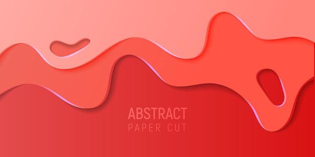 赤い紙とスライムの抽象的な背景とバナーは、波をカットしました。ベクトルイラスト。