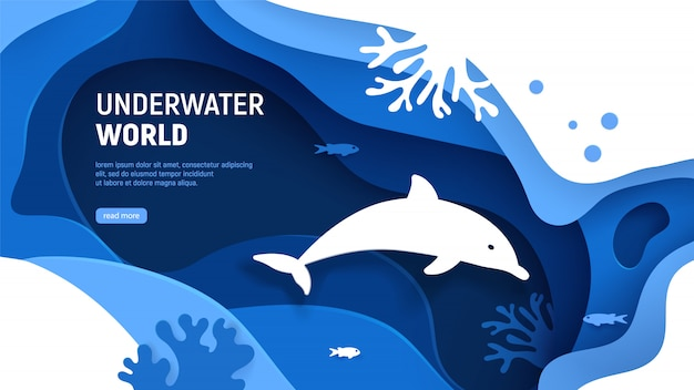 水中世界のページテンプレート。イルカのシルエットとペーパーアートの水中世界の概念。