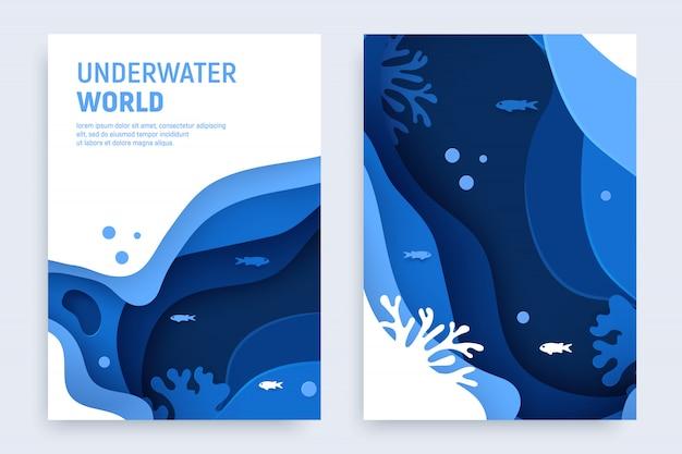 水中の海の抽象的なペーパーアートセット。紙は、波とサンゴ礁で水中の背景をカットしました。海の概念を保存します。クラフトのベクトル図