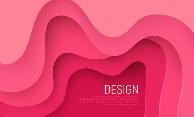 Розовая бумага вырезать фон с розовыми волнами слоев