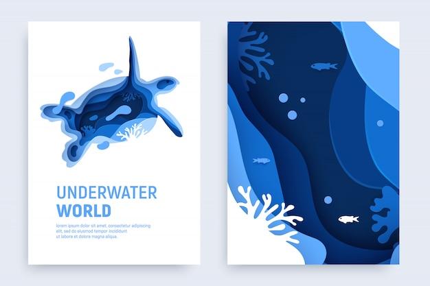 Подрезанный под водой покров для бумаги с черепаховым силуэтом, рыбой, волнами и коралловыми рифами.