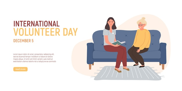国際ボランティアデー。ボランティアは青いソファに座って本より古い白髪の女性を読んでいます。高齢者の世話をするソーシャルワーカー。高齢者の世話。ベクトル図