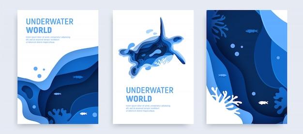Подводный океан абстрактного бумаги искусства фон набор.