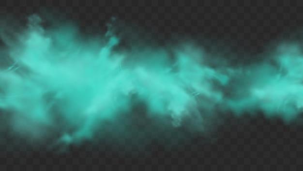暗い透明な背景に分離された青い煙。現実的な青い魔法の霧の雲、化学毒性ガス、蒸気波。リアルなイラスト