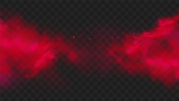 透明な暗い背景に赤い煙または霧の色。