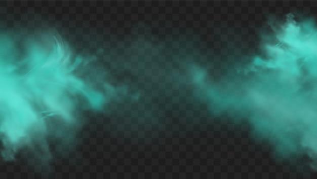 暗い透明な背景に分離された青い煙。現実的な青い魔法の霧雲、化学毒性ガス、蒸気波。リアルなイラスト