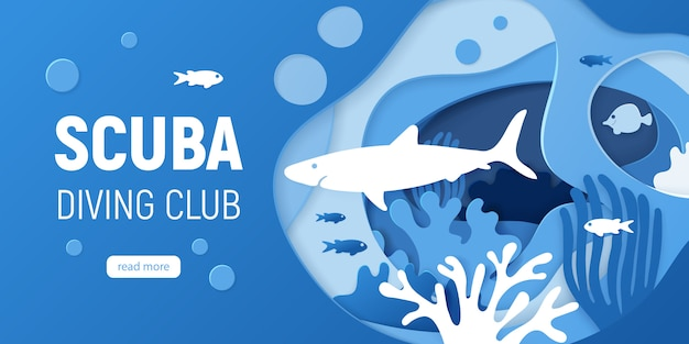 Бумага вырезать подводный фон с коралловыми рифами.