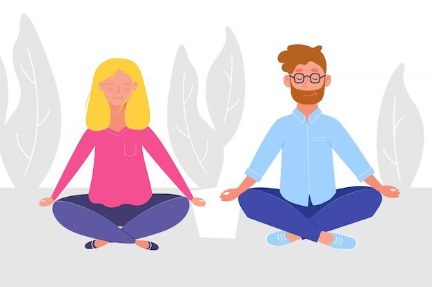 ヨガをやっている女性と蓮を訪ねて瞑想している女性がポーズします。