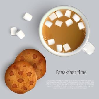 一杯のコーヒーとチョコレートとクッキー。上面図。一杯のコーヒーと朝食のクッキー
