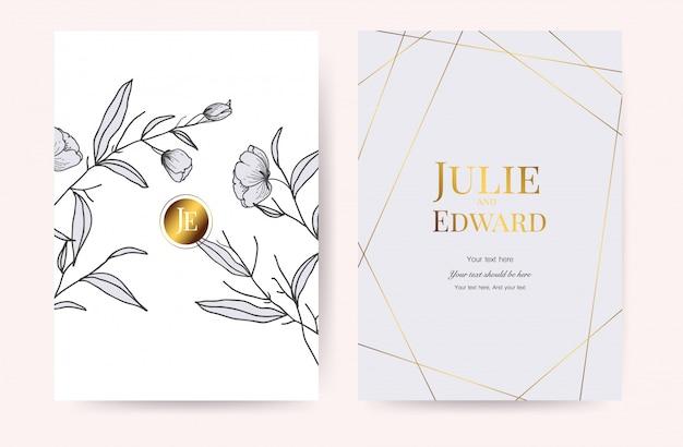 豪華な結婚式の招待カードベクトル