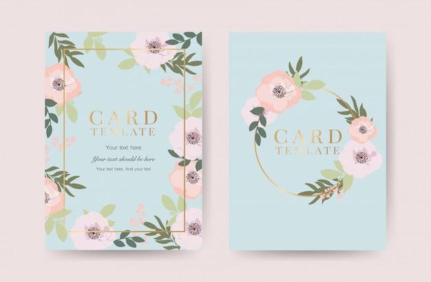 ゴールデンフレームベクトルと花の結婚式の招待状