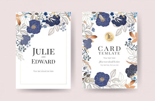 花の結婚式の招待カードベクトル
