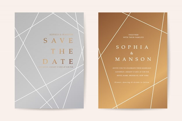 最小限の結婚式招待状カードベクトル