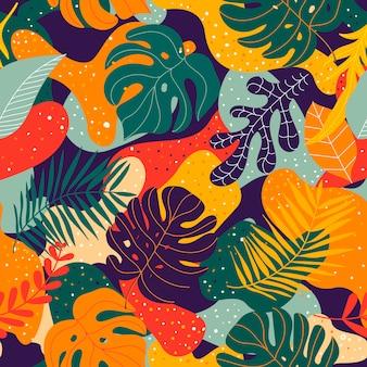 熱帯植物とのシームレスなエキゾチックなパターン