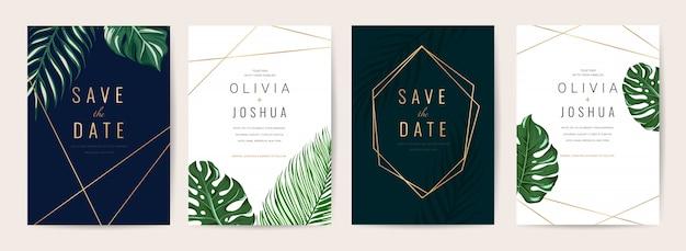 結婚式招待状カードテンプレートセット。