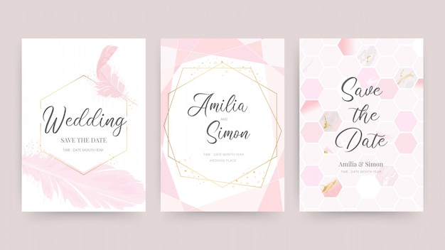Свадебные приглашения и дизайн карты шаблон с красивыми перьями.