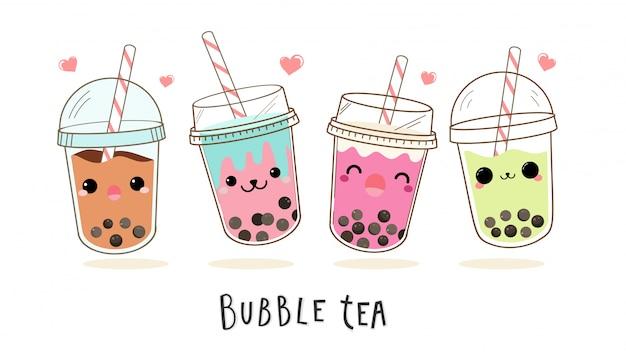 かわいいバブルミルクティーの漫画のキャラクターセット。