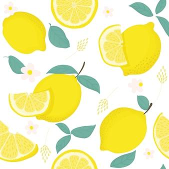 黄色いレモンと熱帯のシームレスなパターン。