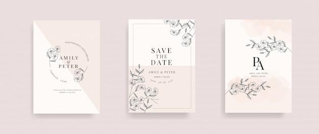 花の手描きのベクトルと結婚式の招待カード。