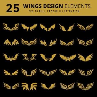 デザイン要素のセット。アイコンとウィングのロゴのデザイン