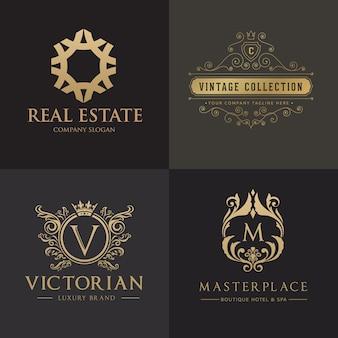 Логотип гребней. роскошный дизайн логотипа для отеля, недвижимости, спа, модной марки
