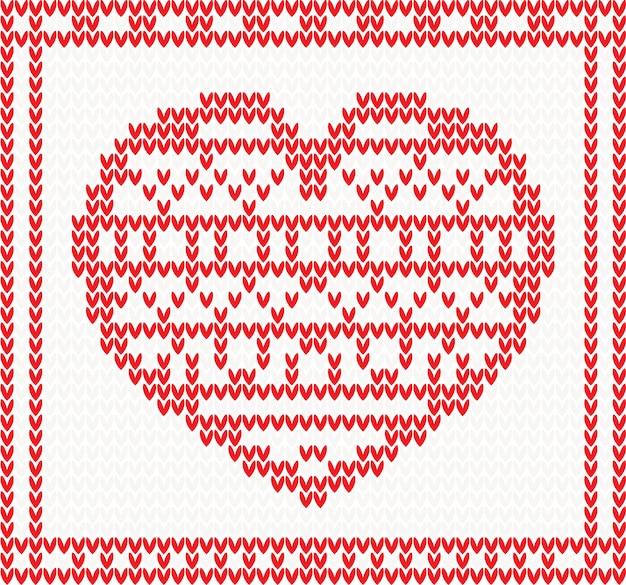 Вязаный узор вектор с красным сердцем.