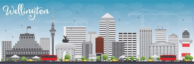 灰色の建物と青い空とウェリントンのスカイライン。