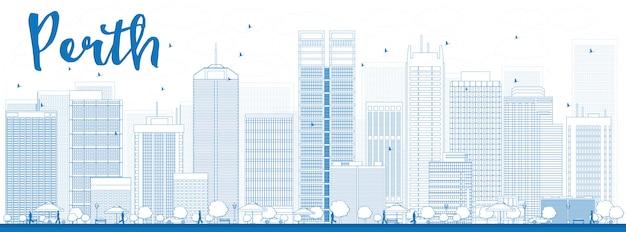 青い建物とパースのスカイライン。