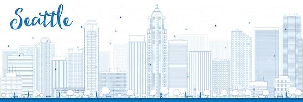 青い建物とシアトル市のスカイラインの概要
