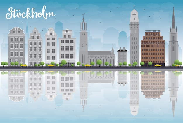 灰色の建物と青い空とストックホルムのスカイライン