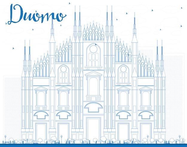 青い色でドゥオーモを概説します。ミラノ。イタリア。