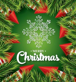 緑に白い雪の結晶のクリスマスカード